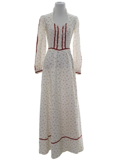 1970's Womens Hippie Prairie Dress