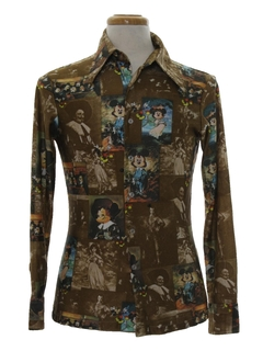 1970's Mens Disney Photo Print Disco Shirt