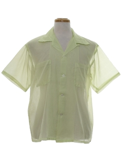 1960's Mens Mod Sheer Sport Shirt