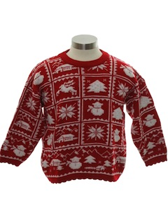 1980's Unisex/Childs Snowflake Reindeer Ski Sweater