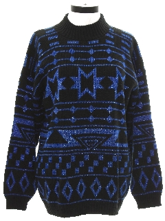 1980's Womens Totally 80s Snowflake Cocktail Sweater