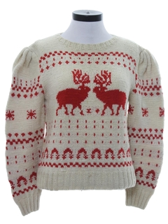 1980's Womens Vintage Wool Reindeer Ski Sweater