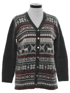 1990's Womens Reindeer Cardigan Ski Sweater