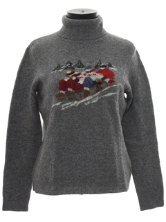 1980's Womens Vintage Wool Christmas Ski Sweater