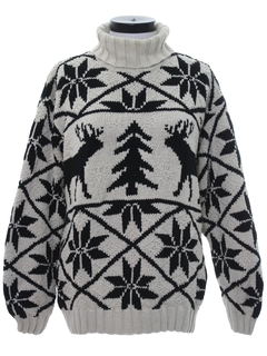 1990's Womens Vintage Oversized Reindeer Ski Sweater