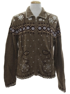 1990's Unisex Country Kitsch Ugly Christmas Snowflake Sweater