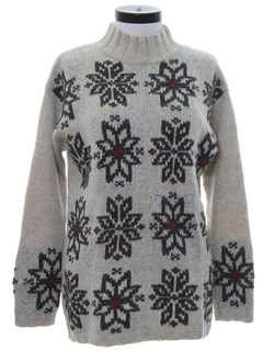 1980's Womens Totally 80s Wool Snowflake Ski Sweater
