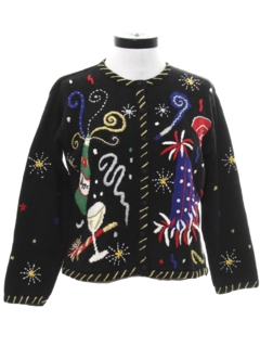1990's Womens Ugly After Christmas New Years Eve Sweater