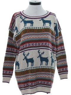 1980's Womens Vintage Totally 80s Reindeer Ski Sweater