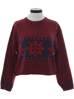 1980's Womens Totally 80s Style Snowflake Sweater