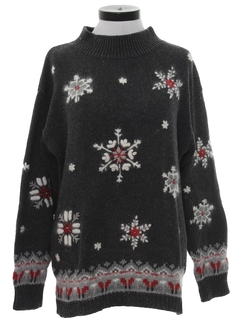 1980's Womens Totally 80s Vintage Oversized Snowflake Ski Sweater