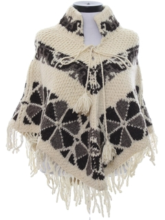 1980's Womens Wool Hippie Poncho Sweater