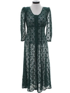 1980's Womens Totally 80s Lace Maxi Dress