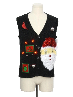 1980's Unisex Red Lightup Hand Embellished Ugly Christmas Sweater Vest
