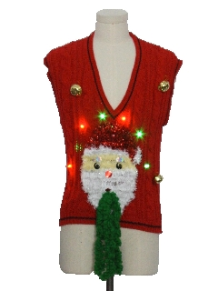 1980's Womens Multicolor Lightup Hand Embellished Ugly Christmas Sweater Vest