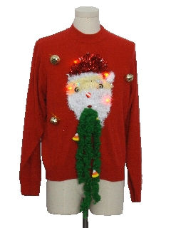 1980's Womens Red Lightup Hand Embellished Ugly Christmas Sweater
