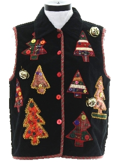 1980's Womens Hand Embellished Ugly Christmas Non-Sweater Vest