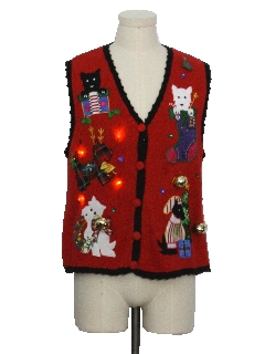 1980's Unisex Red Lightup Hand Embellished Cat-Tastic Ugly Christmas Sweater Vest
