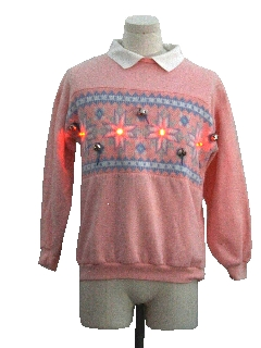 1980's Womens Red Lightup Hand Embellished Ugly Christmas Vintage Sweatshirt