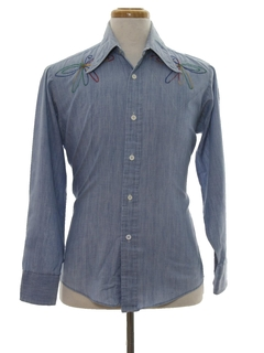 1970's Mens Chambray Embroidered Hippie Shirt