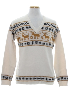 1970's Mens Reindeer Ski Sweater