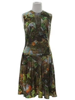 1970's Womens Mod Photo Print Dress