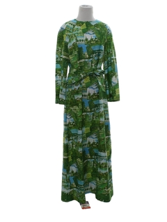 1970's Womens Maxi Photo Print Dress