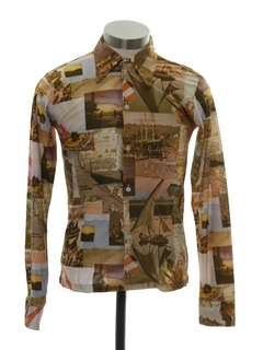 1970's Unisex Ladies or Boys Photo Print Disco Shirt