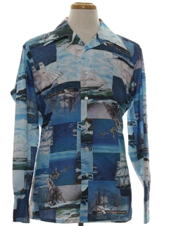 1970's Mens Designer Photo Print Disco Shirt