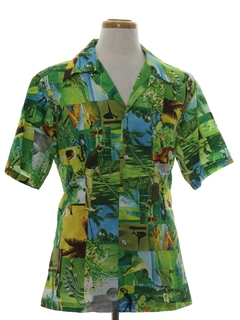 1970's Mens Hawaiian Golf Photo Print Disco Shirt