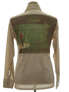 1970's Mens Golf Photo Print Disco Shirt