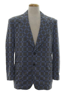 1970's Mens Mod Plaid Disco Blazer Jacket