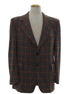 1970's Mens Plaid Disco Blazer Sportcoat Jacket