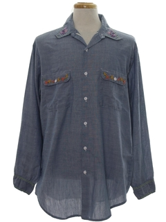 1970's Mens Embroidered Hippie Chambray Shirt