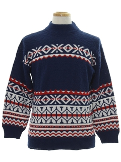 1980's Mens Totally 80s Cosby Style Abstract Geometric Snowflake Ski Sweater