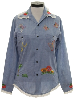 1970's Womens Embroidered Chambray Hippie Shirt