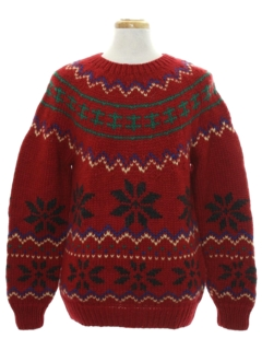 1980's Mens Wool Totally 80s Snowflake Ski Sweater