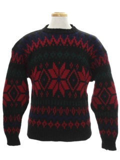 1990's Mens Wool Snowflake Ski Sweater