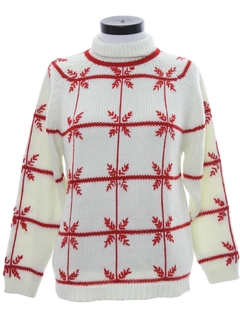 1970's Womens Mod Snowflake Ski Sweater