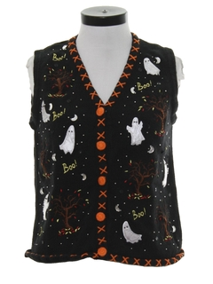 1990's Womens Cheesy Kitschy Ugly Halloween Sweater Vest