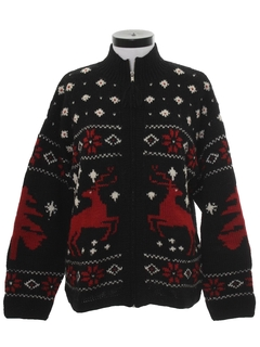1990's Womens Wool Reindeer Ski Sweater