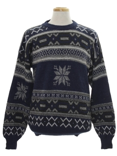 1980's Mens Totally 80s Cosby Style Snowflake Ski Sweater