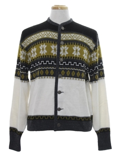 1960's Mens Mod Snowflake Ski Sweater