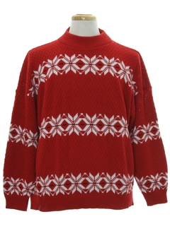 1980's Mens Totally 80s Vintage Snowflake Ski Sweater