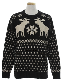 1980's Mens Moose Snowflake Ski Sweater