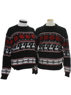 1980's Mens Matching Set Of Reindeer Ski Sweaters