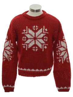 1980's Mens or Boys Snowflake Ski Sweater
