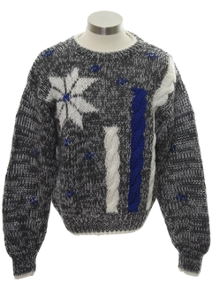 1980's Mens/Boys Totally 80s Cosby Style Snowflake Ski Sweater