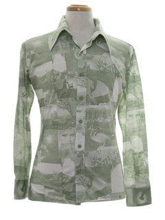 1970's Mens Photo Print Disco Style Shirt