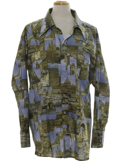 1970's Mens Photo Print Western Style Disco Shirt